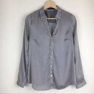 The Limited Navy Blue & White Striped Silky Blouse